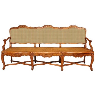 19th Century French Louis XV Carved Walnut Settee