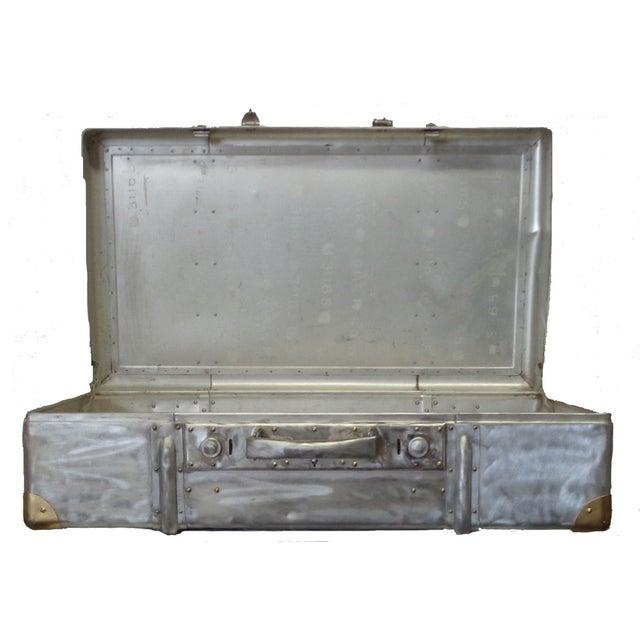 1950 Vintage Aluminum Suitcase Trunk | Chairish