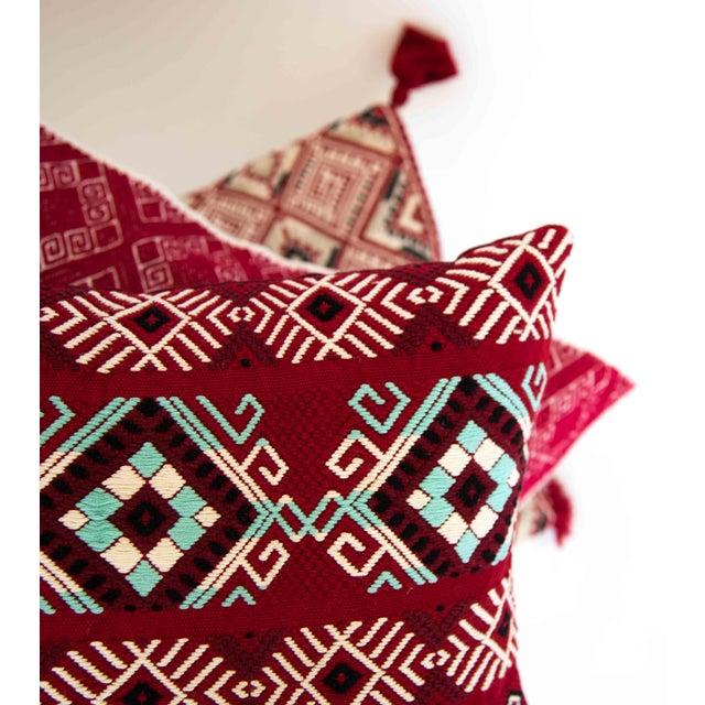 Red Diamond Handwoven Guatemalan Pillow - Image 3 of 4