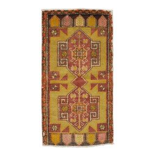 Vintage Turkish Oushak Rug - 1′10″ × 3′5″