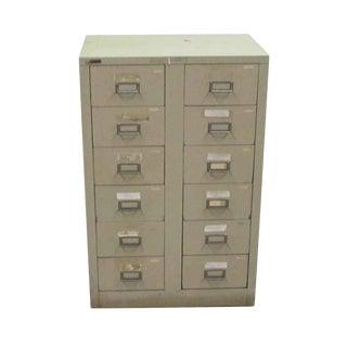 Tan Metal File Card Cabinet