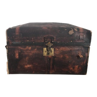 Vintage Distressed Leather Trunk