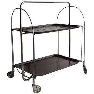 Mid Century German Collapsible Serving Bar Cart