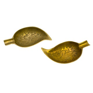 Indian Leaf-Shaped Brass Dishes - Pair