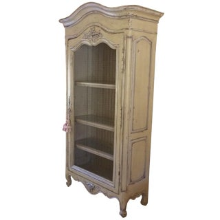 French-Style Painted Cabinet With Wire Door