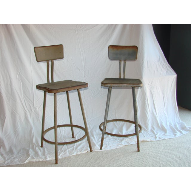 Image of Vintage Industrial Shop Stools - A Pair