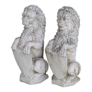 1950s Estate Concrete Lion Garden Statues- A Pair