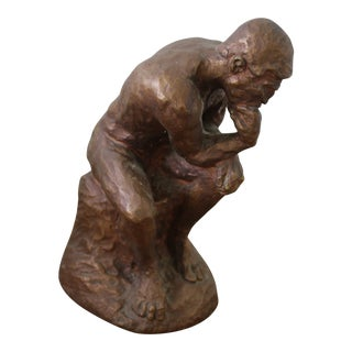 Bronze Painted Plaster Thinker Sculpture