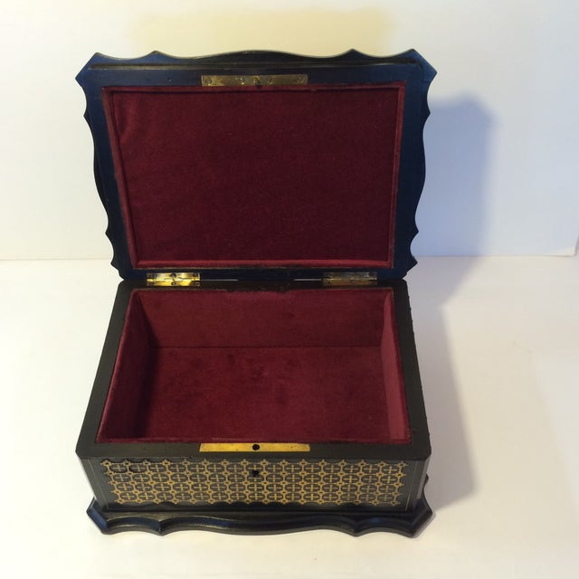 French Solid Ebony Wood Jewel Box - Image 7 of 7