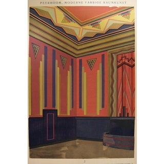 Art Deco Navy & Pink Pochoir Print, 1929