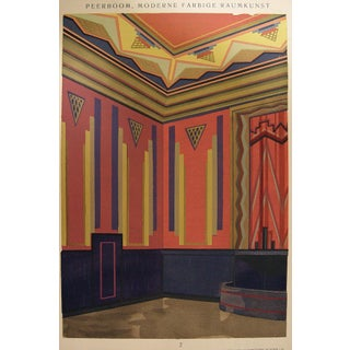 Art Deco Navy & Pink Pochoir Print, 1929