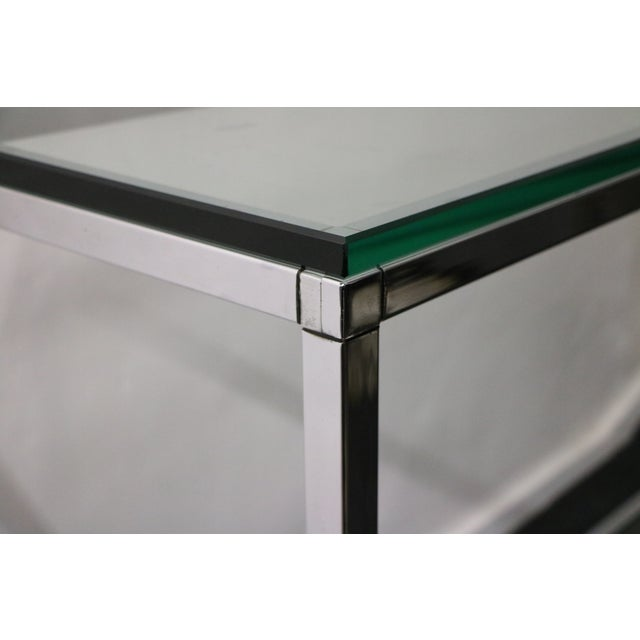 Image of Chrome Console Table With Glass Top