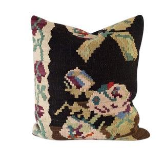 Large Vintage Floral Kilim Pillow