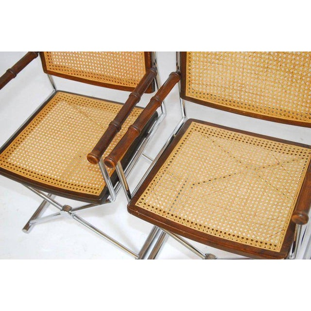 Mid-Century Chrome and Caned Director Chairs - A Pair - Image 2 of 8