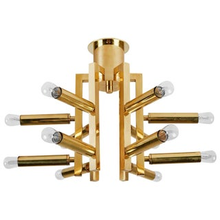 Twelve Arm Brass Flushmount Ceiling Light