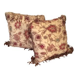 Vintage Silk Needle Point Fabric Pillows - A Pair