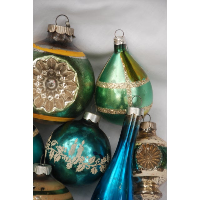 Vintage Blue and Green Glass Ornaments - Set of 11 - Image 6 of 10