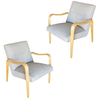 Pair of Thonet Bentwood Armchairs with Grey Seats