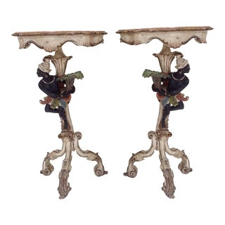 19th Century Venetian Blackamoor Side Tables- A Pair