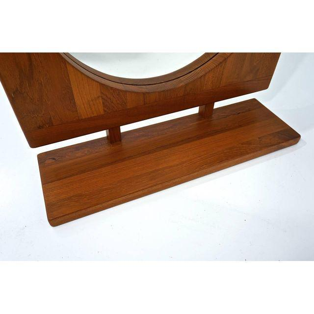 Danish Teak Table Mirror with Shelf - Image 3 of 7