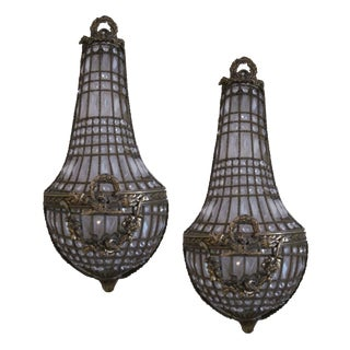 Antique French Crystal Sconces - A Pair