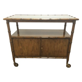 Vintage Wood Faux Bamboo Bar Cart