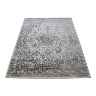 "Distressed Medallion Silver Gray Rug - 5'3"" x 7'7"""
