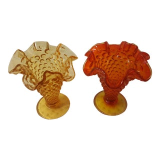 Orange and Amber Hobnail Bud Vase, A Pair