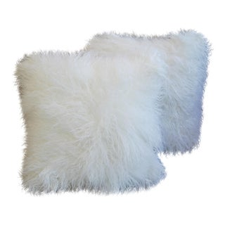 Arctic White Tibetan Lambswool & Velvet Pillows - A Pair
