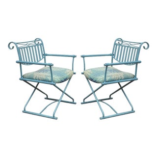 Vintage Hollywood Regency Director's Arm Chairs - A Pair
