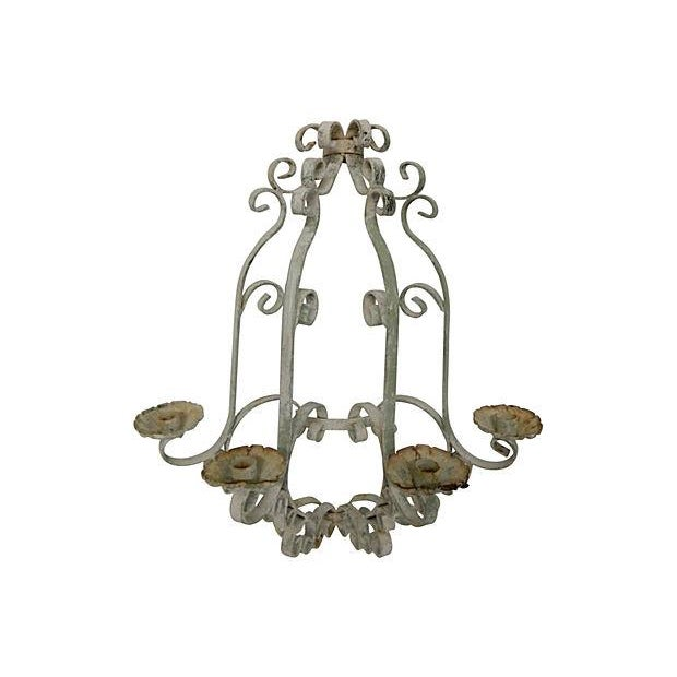 Shabby Chic Wrought Iron Sconces - A Pair - Image 2 of 5