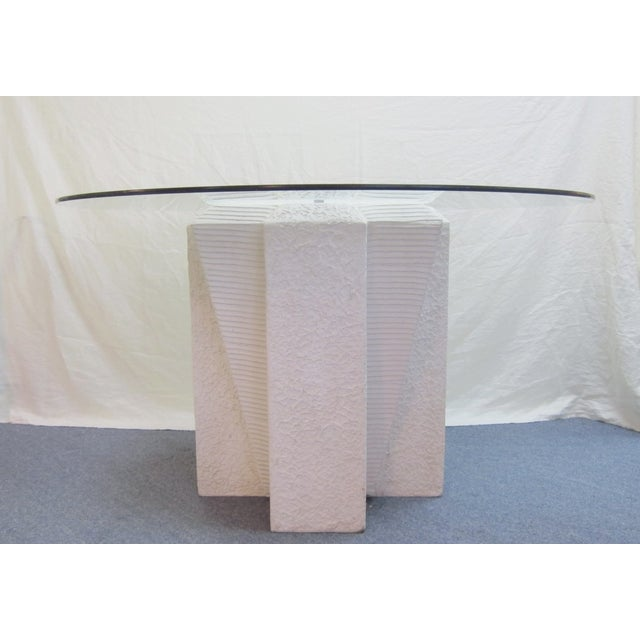 Image of White Art Deco Dining Table with Glass Top
