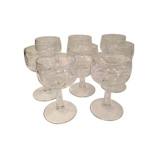 Mid-Century Etched White Wine Stems - Set of 8