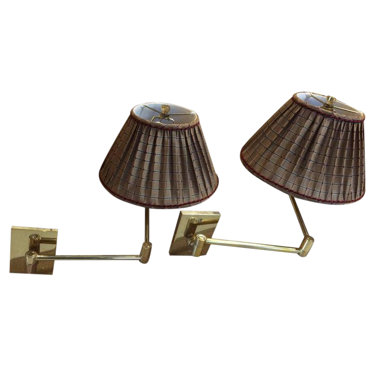 vintage hansen brass swing arm wall lamps a pair image 1 of 9