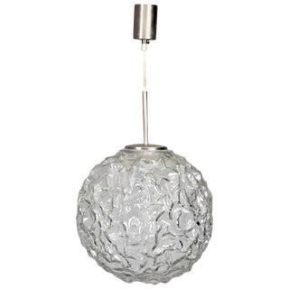 Mid-Century Molded and Textured Glass Globe Pendant Light