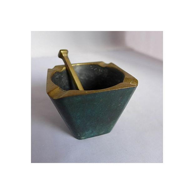 Mid-Century Brass Pipe Smoker's Ashtray - Image 2 of 7