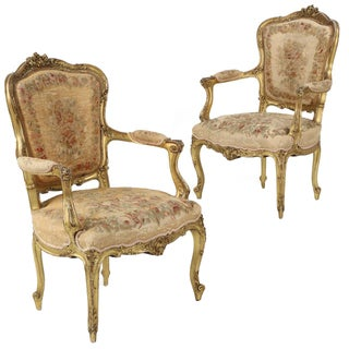 French Louis XV Style Giltwood Arm Chairs - Pair