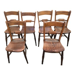 Antique French Country Oak Dining Chairs - Set of 6