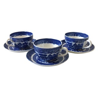 Blue & White English Willow Teacups - Set of 6