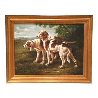 Ethan Allen English Hound Oil Painting - Free Ups Shipping