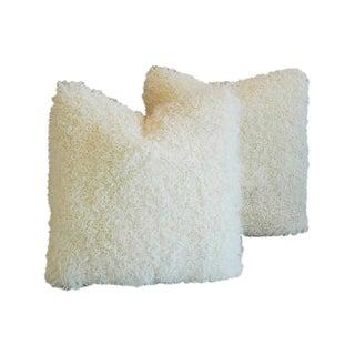 Custom Ivory Kalgan Curly Lambswool Fur Pillows - a Pair