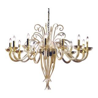 Poetic Large Twelve-Arm Gold Murano Glass Chandelier