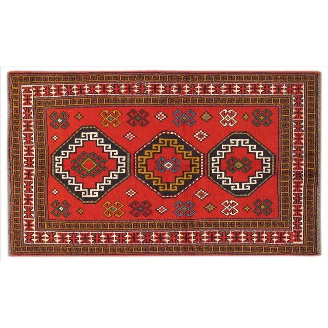 Image of Apadana - Persian Red Geometric Rug - 4' x 7'