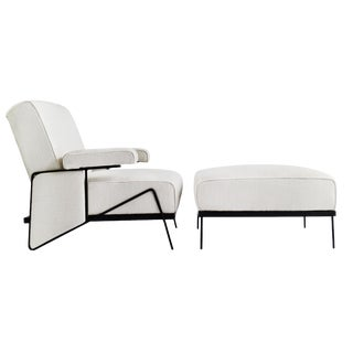 In the Style of Milo Baughman Lounge Chair and Ottoman