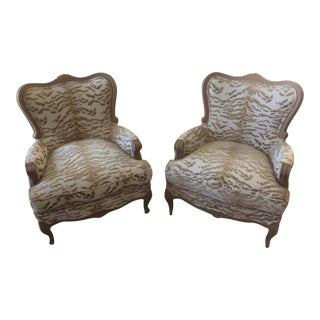 1940's Carved Louis XV French Bergere Chairs - a Pair