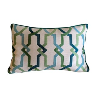 Custom Turquoise Mod Geometric Kidney Pillow