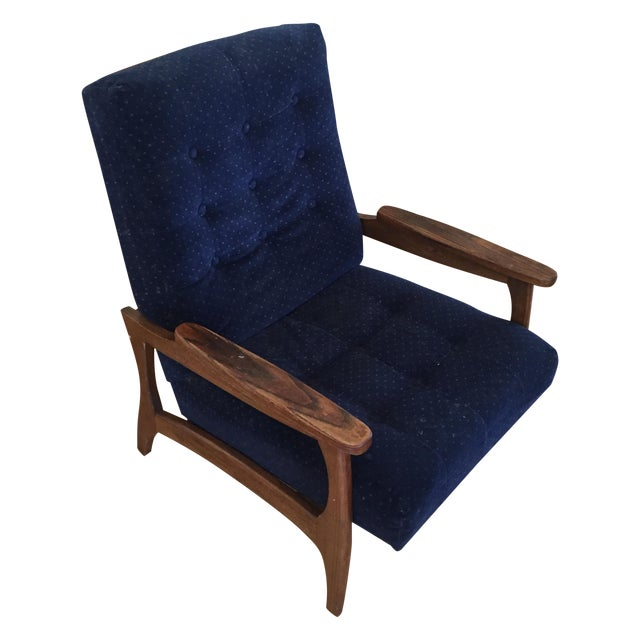 Vintage Navy Blue Tufted Lounge Chairs - A Pair - Image 1 of 6