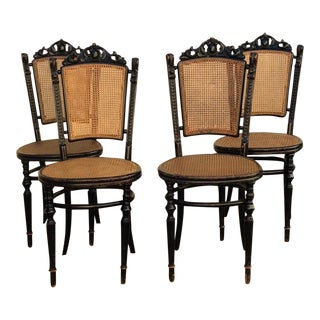 Antique French Style Cane Chairs - Set of 4