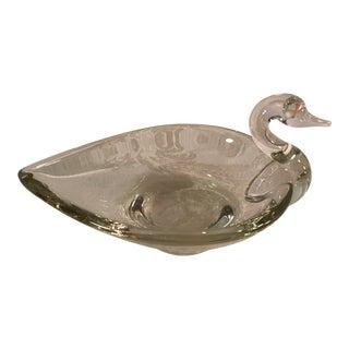 Mid-Century Swan Art Glass Dish