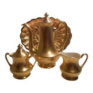 Vintage Pickard Usa Gold Gilt Embossed Floral Coffee Tea Chocolate Set